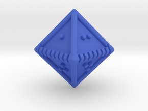Braille Eight-sided Die d8 in Blue Processed Versatile Plastic