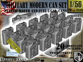 1/56 Military Fuel+Water Can Set401 in Smooth Fine Detail Plastic