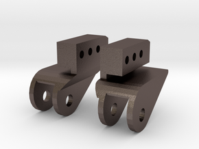 SCX10 LWB Front Leaf Mounts for Rear in Polished Bronzed Silver Steel