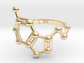 Serotonin (Happiness) Molecule Ring in 14K Yellow Gold: 6.5 / 52.75