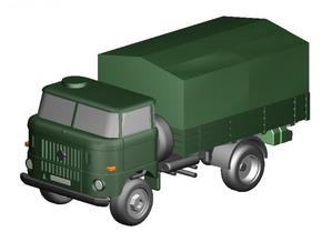 W50 kurz Pritsche NVA / short flatbed Military in Smooth Fine Detail Plastic