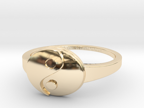 Yin-Yang Ring in 14k Gold Plated Brass