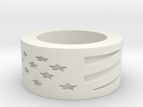 USA Flag Ring, Height 8 mm in White Natural Versatile Plastic