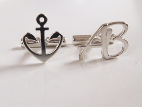 anchor cuff link in Fine Detail Polished Silver