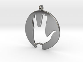 Hi spock - Vulcan salute in Fine Detail Polished Silver