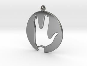 Hi spock - Vulcan salute in Fine Detail Polished Silver