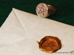 Pentagram Signet Ring in Polished Gold Steel