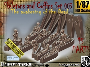 1/87 Skeleton+Coffins Set003 in Smooth Fine Detail Plastic