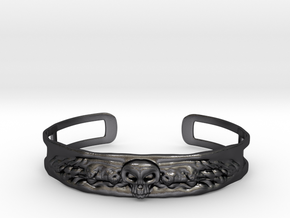 Skull and Wings Bracelet - Small in Polished and Bronzed Black Steel