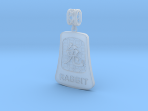 Chinese 12 animals pendant with bail - therabbit in Smooth Fine Detail Plastic