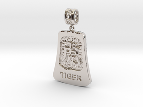 Chinese 12 animals pendant with bail - thetiger in Rhodium Plated Brass