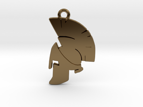 Spartan Helmet Pendant/Keychain in Polished Bronze
