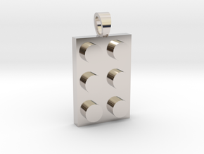 Constructor first brick [pendant] in Rhodium Plated Brass