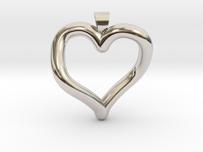 Infinite heart [pendant] in Rhodium Plated Brass