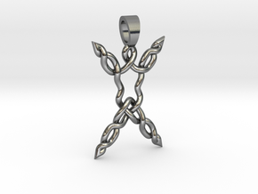 Human celtic knot [pendant] in Polished Silver