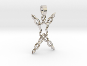 Human celtic knot [pendant] in Rhodium Plated Brass