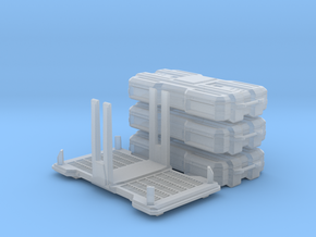 Stackable SciFi cargo boxes & rack in Smooth Fine Detail Plastic