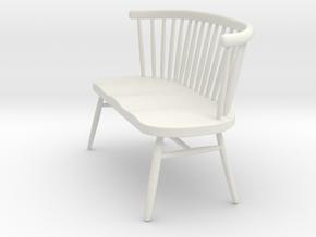 Miniature Ercol Love Seat - Ercol in White Natural Versatile Plastic: 1:12