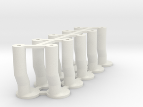 Slot Car universal body mounting posts CRANKED in White Natural Versatile Plastic