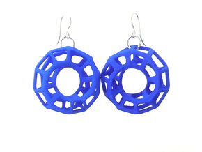 Mobius Torus - Earrings in Nylon Plastic in Blue Processed Versatile Plastic