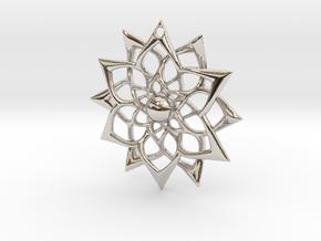 851 Flower Pendant in Rhodium Plated Brass