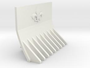 Supressor Fleur de lis dozer blade in White Natural Versatile Plastic