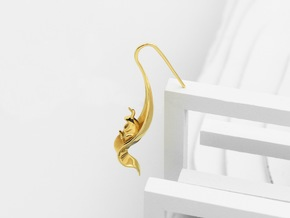 Rabbit Earrings (Listening) in Polished Brass