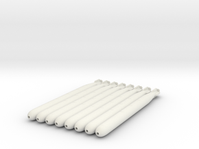 German Torpedo x8, 1:56 Scale in White Natural Versatile Plastic