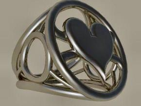 Size 24 5 mm LFC Hearts in Polished Bronzed Silver Steel