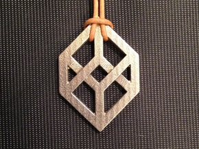 Necker/Impossible Cube Pendant in Polished Bronzed Silver Steel