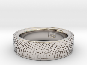 Rally Tire Ring 11.5 in Rhodium Plated Brass