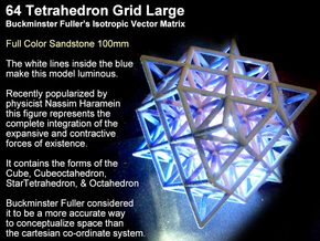 64 Tetrahedron Grid 10cm Isotropic Vector Matrix in Full Color Sandstone