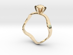 waved engagement ring in 14k Gold Plated Brass: 6 / 51.5