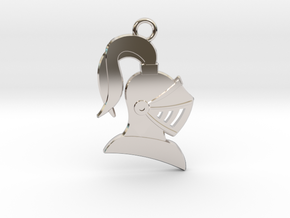 Knight Helmet Pendant/Keychain in Rhodium Plated Brass