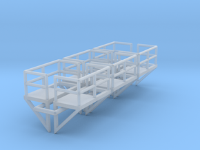 N Scale Cage Ladder Platform L+R 6pc in Smooth Fine Detail Plastic