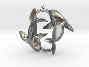 Circle of Fish in Natural Silver