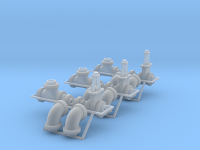 """1:87 - 24"""" flanged pipe fittings, gate valve 6ea in Smooth Fine Detail Plastic"""