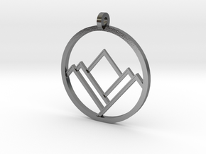 A Mountain in A Circle in Polished Silver