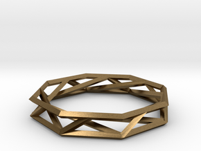 Octagon Wireframe Geometric Ring in Natural Bronze