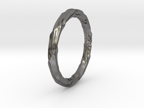 Abstract Water Bracelet in Polished Nickel Steel