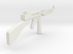 1/18 Thompson machine gun miniature in White Natural Versatile Plastic