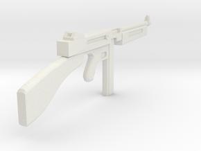 1/18 Thompson machine gun miniature in White Natural Versatile Plastic