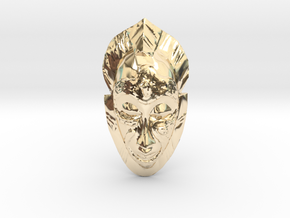 African Mask - Room Decoration in 14k Gold Plated Brass: Small