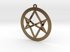 Interlaced Unicursal Hexagram in Natural Bronze