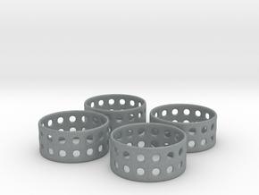 Double Bubble Napkin Rings (4) in Polished Metallic Plastic