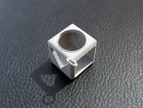 Shape Sorter Box Cube Pendant Keyring in Polished Metallic Plastic