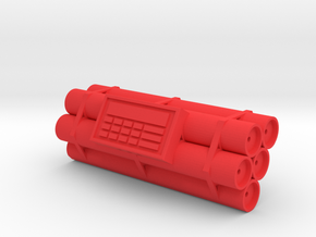 TNT dynamite bomb - 5 sticks - 1:2 scale in Red Processed Versatile Plastic