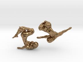 Sculptural Nudes Cufflinks in Natural Brass