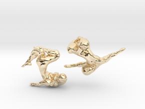 Sculptural Nudes Cufflinks in 14k Gold Plated Brass