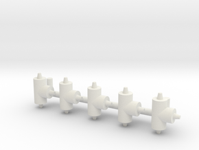 "ø2.4mm 3/32"" Pipe Fittings T 5pc in White Natural Versatile Plastic"